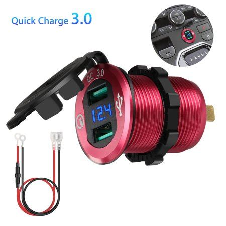 boat car quick charge 3 0 quick charge 3 0 car charger 12v 24v 36w waterproof dual