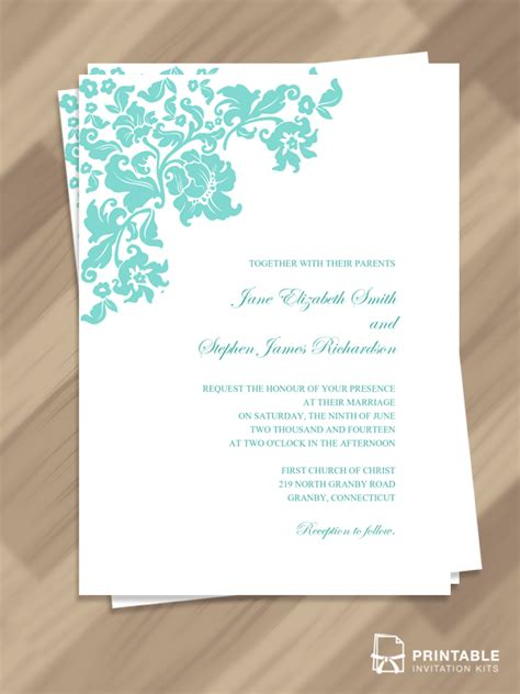 free pdf download pretty vintage border wedding invitation