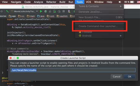 android command line the vcs client of android studio 183 sa 250 l molinero