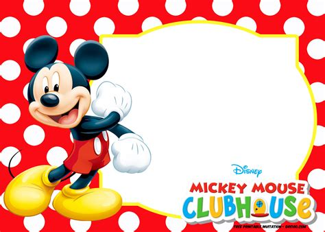 mickey mouse polka dot invitation templates  invitation templates drevio