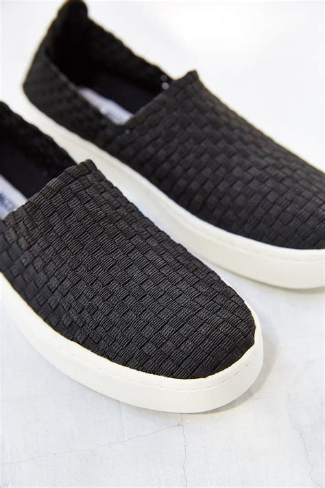 lyst steve madden ex slip on sneaker in black