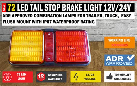 72 Led Tail Stop Brake Light Waterproof Boat Trailer Waterproof Led Light Bar 12v