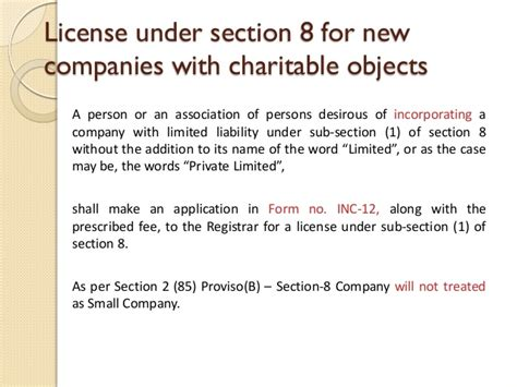 section 8 law section 8 of companies act 2013
