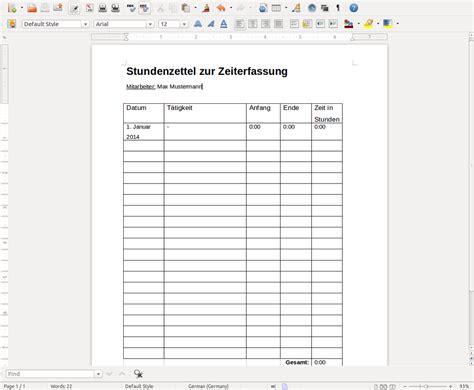 Kostenlose Vorlage Arbeitszeit Vorlage Muster Stundenzettel