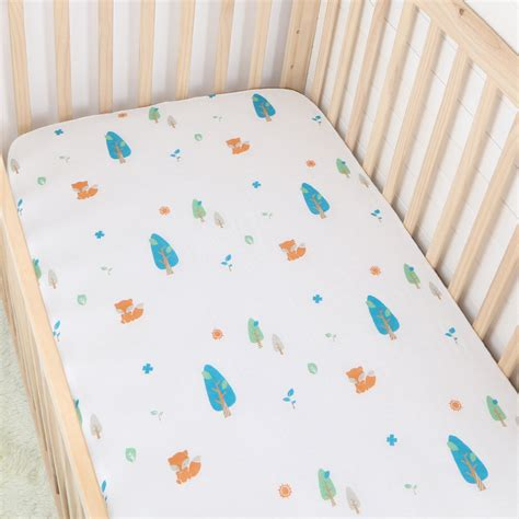 Muslin Crib Bedding Forest Fox Pigment Print Cotton Muslin Baby Fitted Crib Sheet Changyi City Hongbo Textile Co