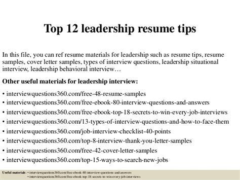 Resume Tips Leadership top 12 leadership resume tips