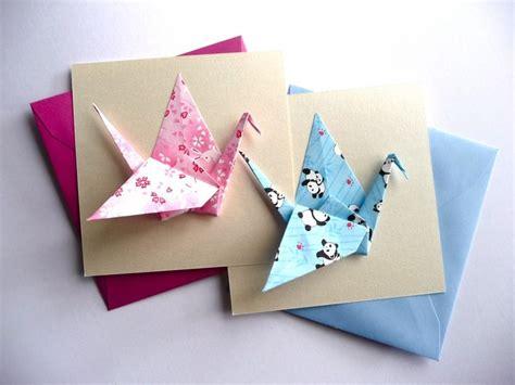 Carte Origami - carte origami grue en papier japonais quot fuchsia