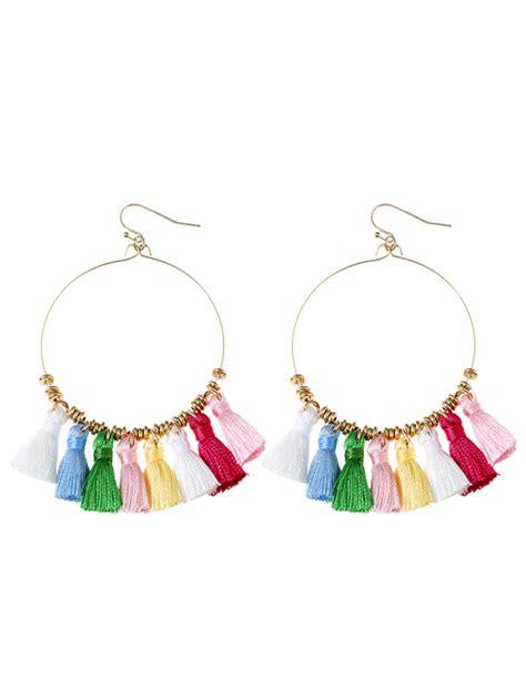 Cicle Drop Earrings tassel cicle hoop drop earrings colormix in earrings