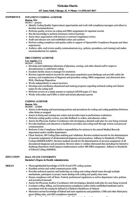 Coding Auditor Cover Letter by Chart Auditor Sle Resume Polygraph Examiner Cover Letter