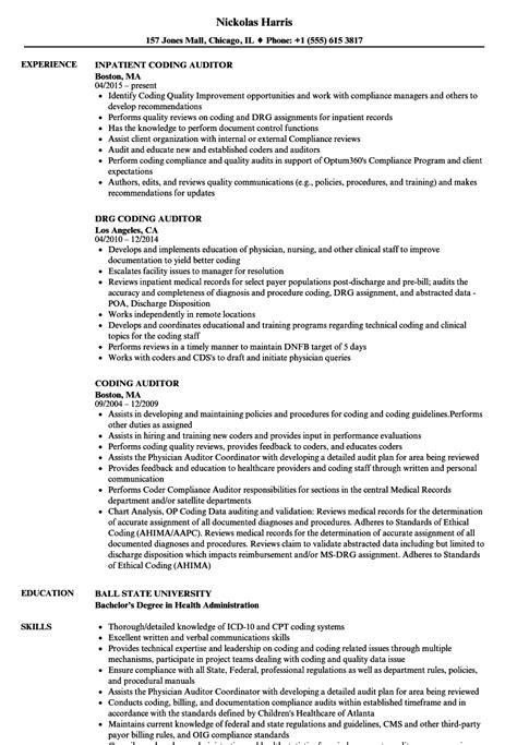 Coding Auditor Sle Resume by Auditor Resume Exles Best Resumes