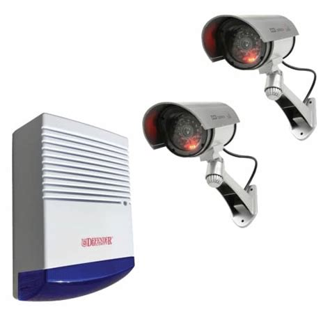 2 x dummy solar powered infrared bullet security cameras