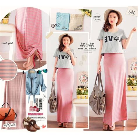 Sale Bf1297 Maxi Garis Tanpa update 14mei big sale rok panjang skirt muslim