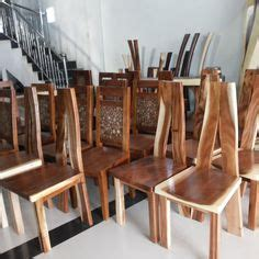 Kursi Kayu Teras meja trembesi bundar alami solid table