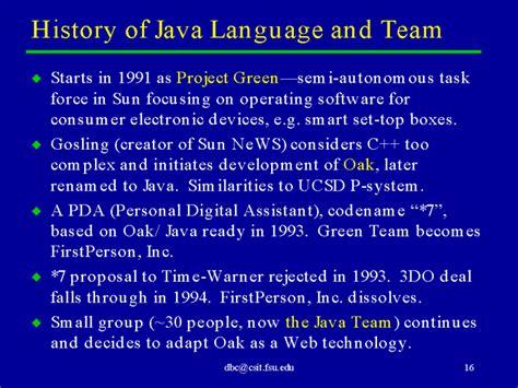 Historis Of Java history of java language and team