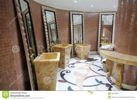 Beautiful modern washroom stock image. Image of lavatory