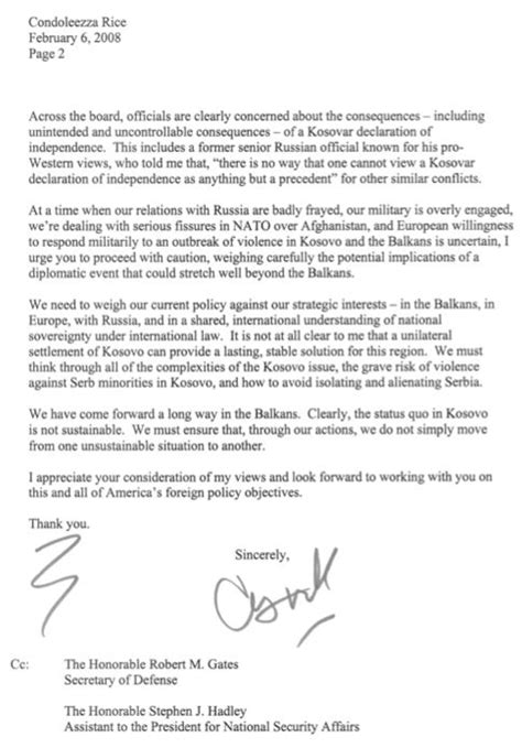 Rice Acceptance Letter Previously Unknown Hagel Letter Warns Rice Of Russia Collision The Washington Note By Steven Clemons