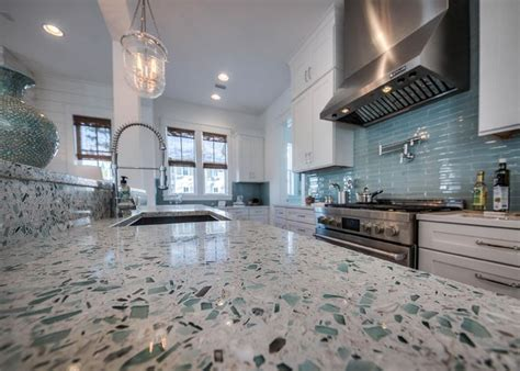 """Emerald Coast"" Vetrazzo countertop   David Weekley Homes"
