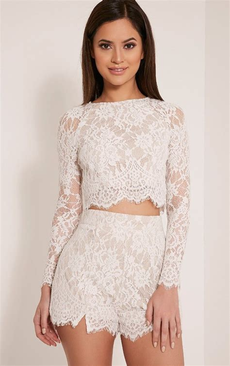 Sleeved Lace Top ellena white lace sleeve crop top image 1 wishlist