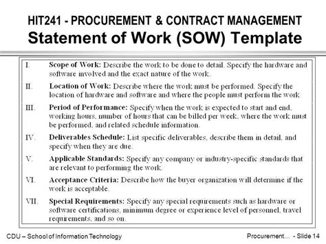 procurement statement of work template hit241 procurement contract management introduction