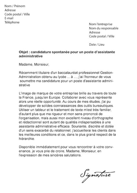 Exemple Lettre De Motivation Assistant Administrative Lettre De Motivation Assistante Administrative Mod 232 Le De Lettre