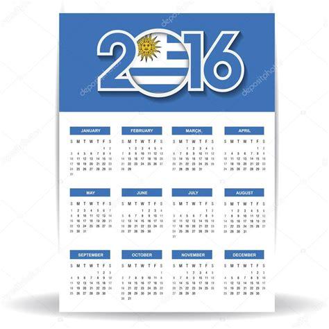 Calendario 2016 Uruguay Calendario 2016 Con La Bandera De Uruguay Vector De