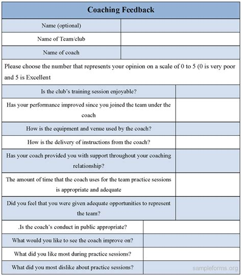 Coaching Feedback Form Sle Forms Coaching Form Template