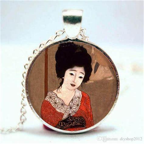 japanese women sideburn jewelry wholesale geisha girl necklace asian japanese theme