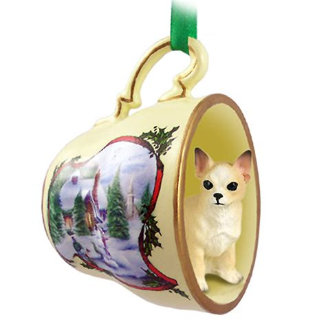chihuahua dog christmas holiday teacup ornament figurine