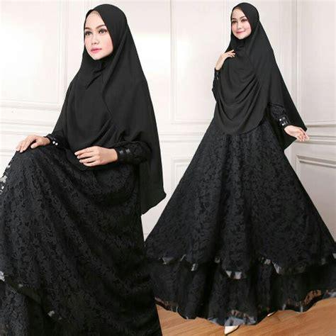 Baju Gamis Syari Masa Kini model baju gamis syari brukat modern masa kini hitam modelgamismodern