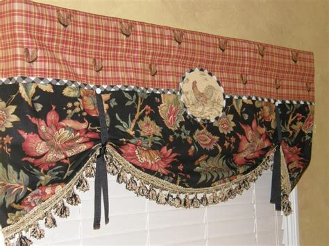 French country waverly rooster red plaid black jacobean balloon valance tassels ebay
