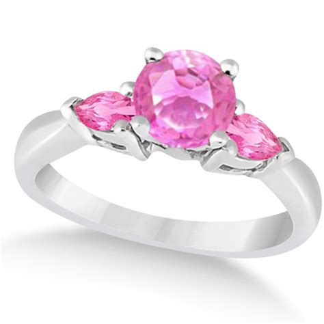 pear three pink sapphire engagement ring 14k white