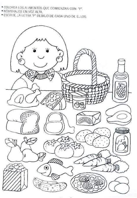 spanish food coloring page letra p kindergarten literacy pinterest spanish