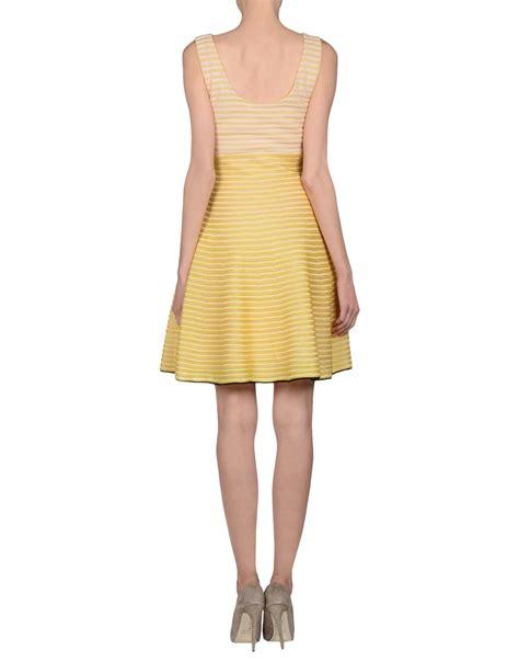 the row asca sleeveless midi sheath dress in blue lyst dior knee length dress in yellow lyst