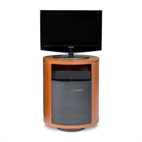 bdi revo wood 37 quot swivel tv stand in stained