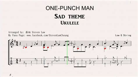 theme line one punch man one punch man sad theme quot ukulele solo quot tab youtube