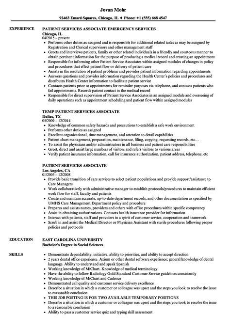 Patient Service Associate by Patient Services Associate Resume Sles Velvet