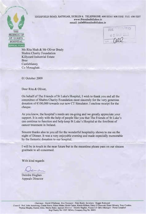 appreciation letter to director friends of st lukes shabra charity