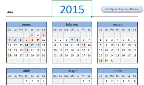 Calendario Excel 2015 Descarga Gratis Calendario Y Agenda Diaria 2015 En Excel