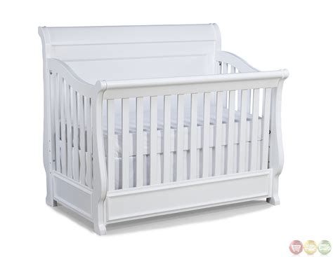 White Convertable Crib with White Grow With Me Convertible Crib