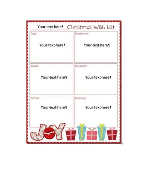 43 Printable Christmas Wish List Templates Ideas Template Archive Template Ideas