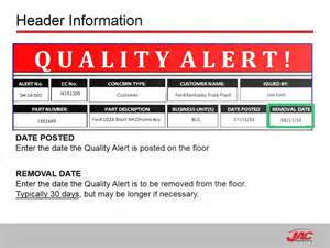 jac products quality alert training youtube