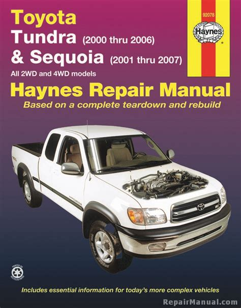 how to download repair manuals 2006 toyota tundra user handbook haynes 2000 2006 toyota tundra 2001 2007 sequoia repair manual