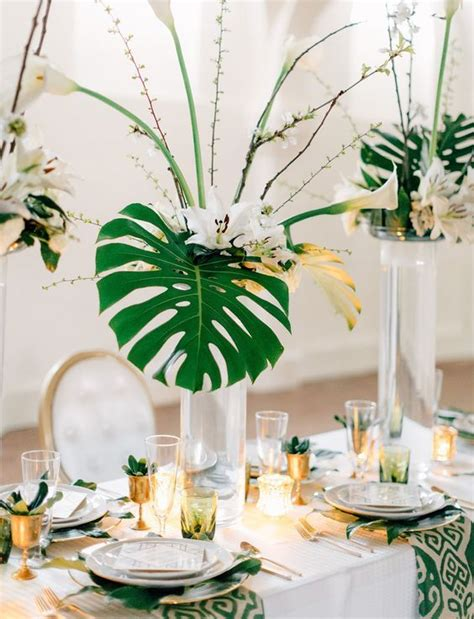 2017 trend tropical leaf greenery wedding decor ideas