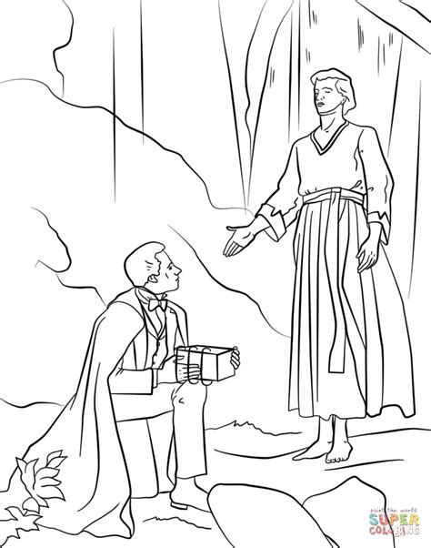 coloring page of angel and joseph angel moroni gives plates to joseph smith coloring page