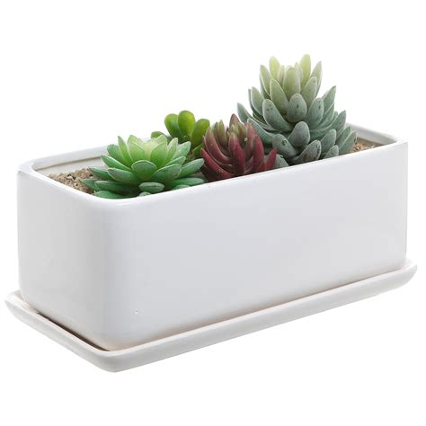10 In Ceramic Planter by 10 Inch Rectangular Modern Minimalist White Ceramic