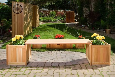 bench with planter wooden planter with benches by all things cedar furniture