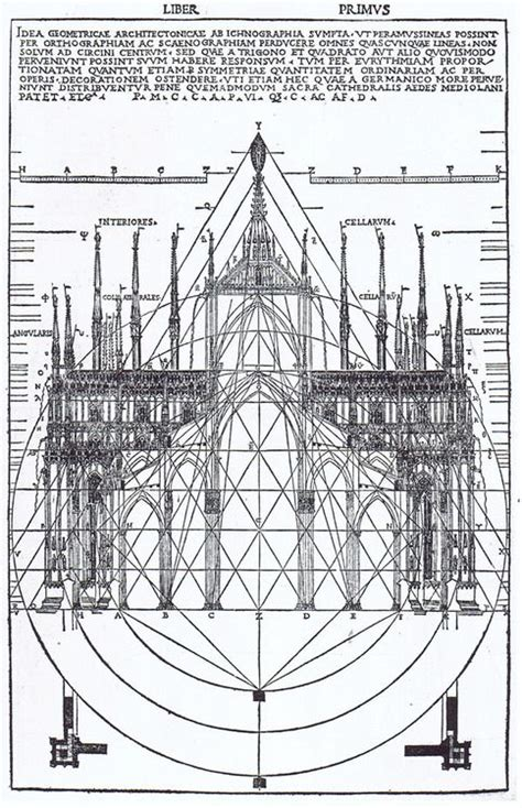 milan cathedral floor plan cesar cesariano facade and section of milan cathedral woodcut from his edition of vitruvius