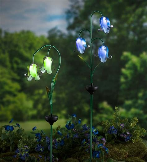 glass flower solar lights solar glass flower stake decorative garden accents