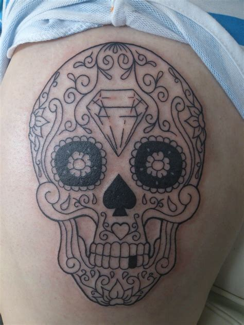candy skull tattoo sugar skull only of hours done by carol