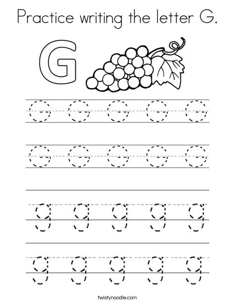 coloring pages that start with the letter g practice writing the letter g coloring page twisty noodle